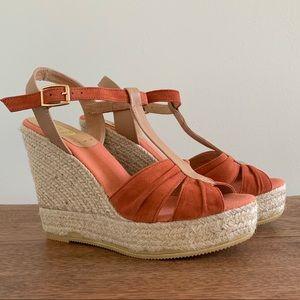 Kanna Espadrille Wedge Sandals, Coral, Size 9